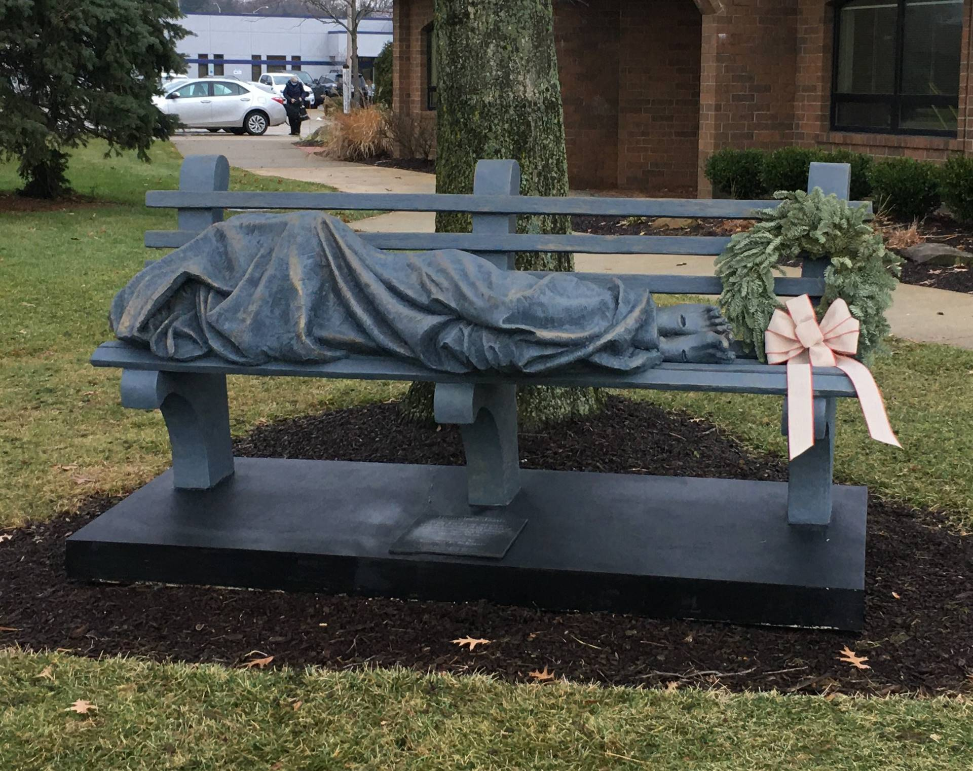 picture of homeless Jesus statue